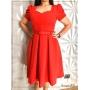 Vestido Lady Like Vermelho com Cinto - Amanda Bella