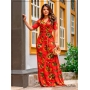 Vestido Longo Estampado Vermelho  - Boutique K
