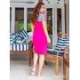 Vestido Polinho Bicolor Rosa  - Boutique K