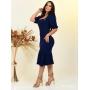 Vestido Social Midi Azul Marinho