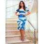 Vestido Tubinho em Poliamida Azul  e Off - Boutique K