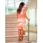 Vestido Tubinho em Poliamida Laranja e Off - Boutique K