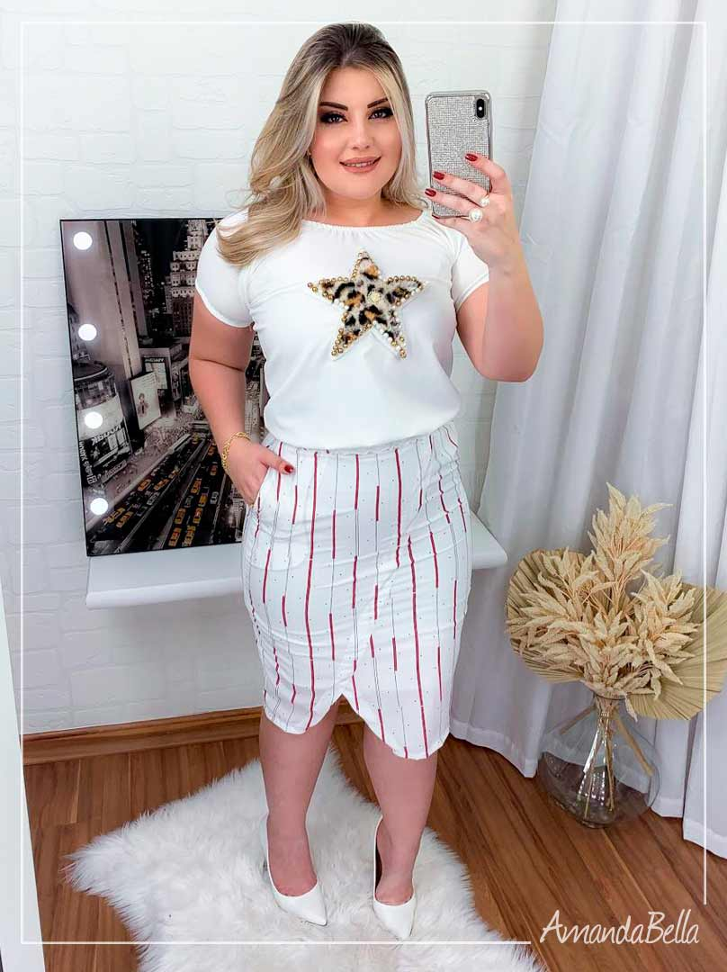 Blusa Casual  Branca Estrela - Amanda Bella