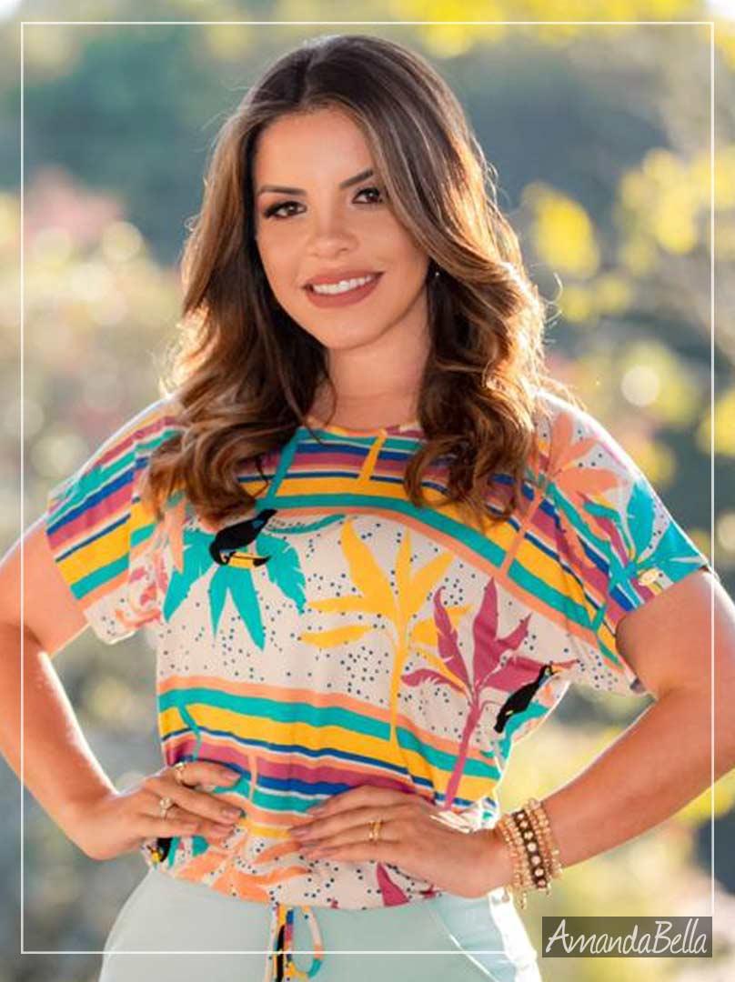 Blusa em Malha Premium  com Amarração Frontal - Boutique K