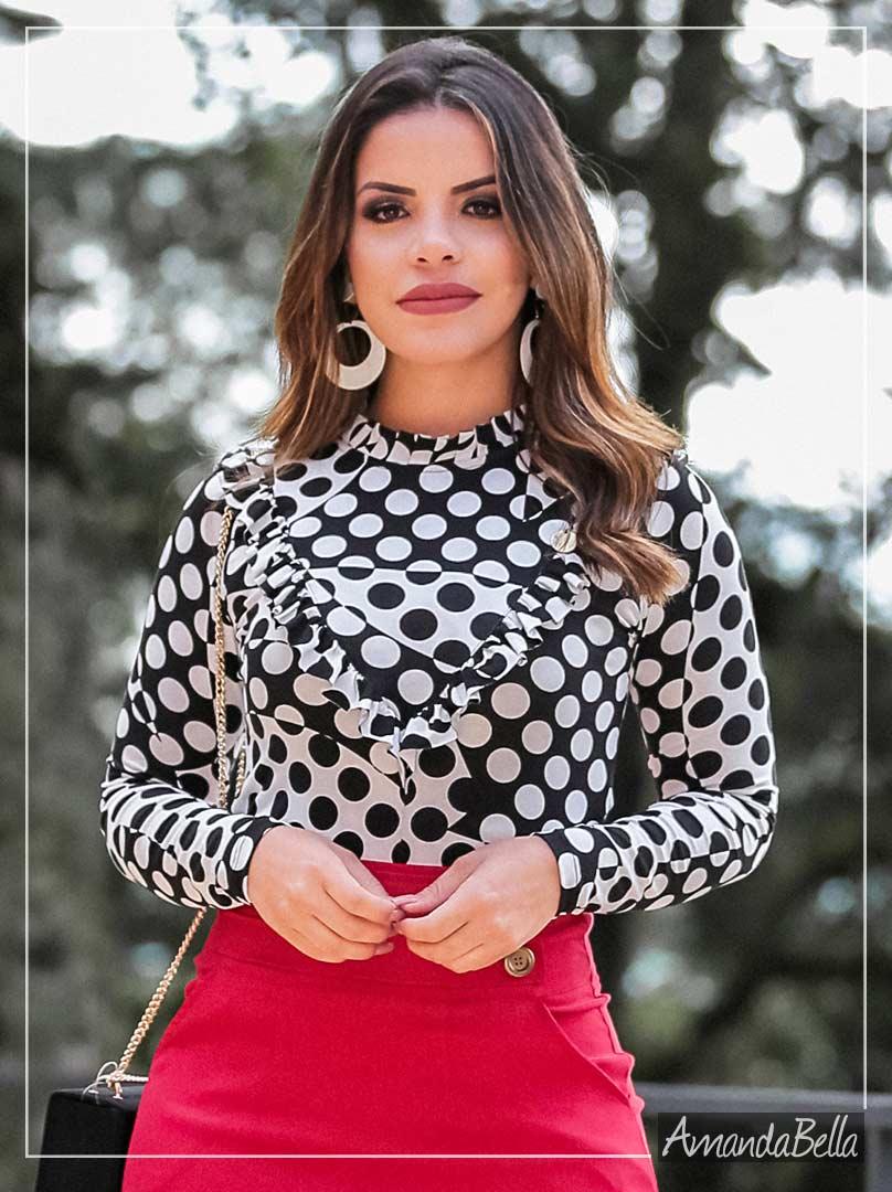 890abea96 Blusa Feminina Estampada com Babados - Boutique K
