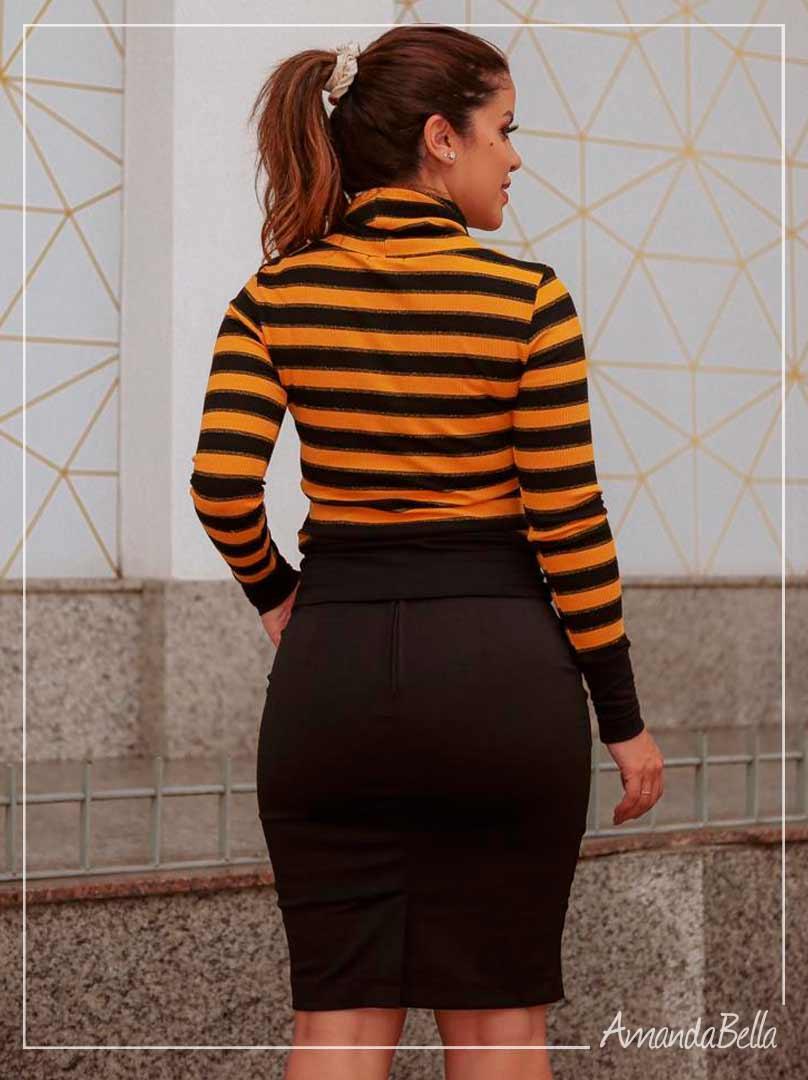 Blusa Listrada Tricot Amarela Listrada