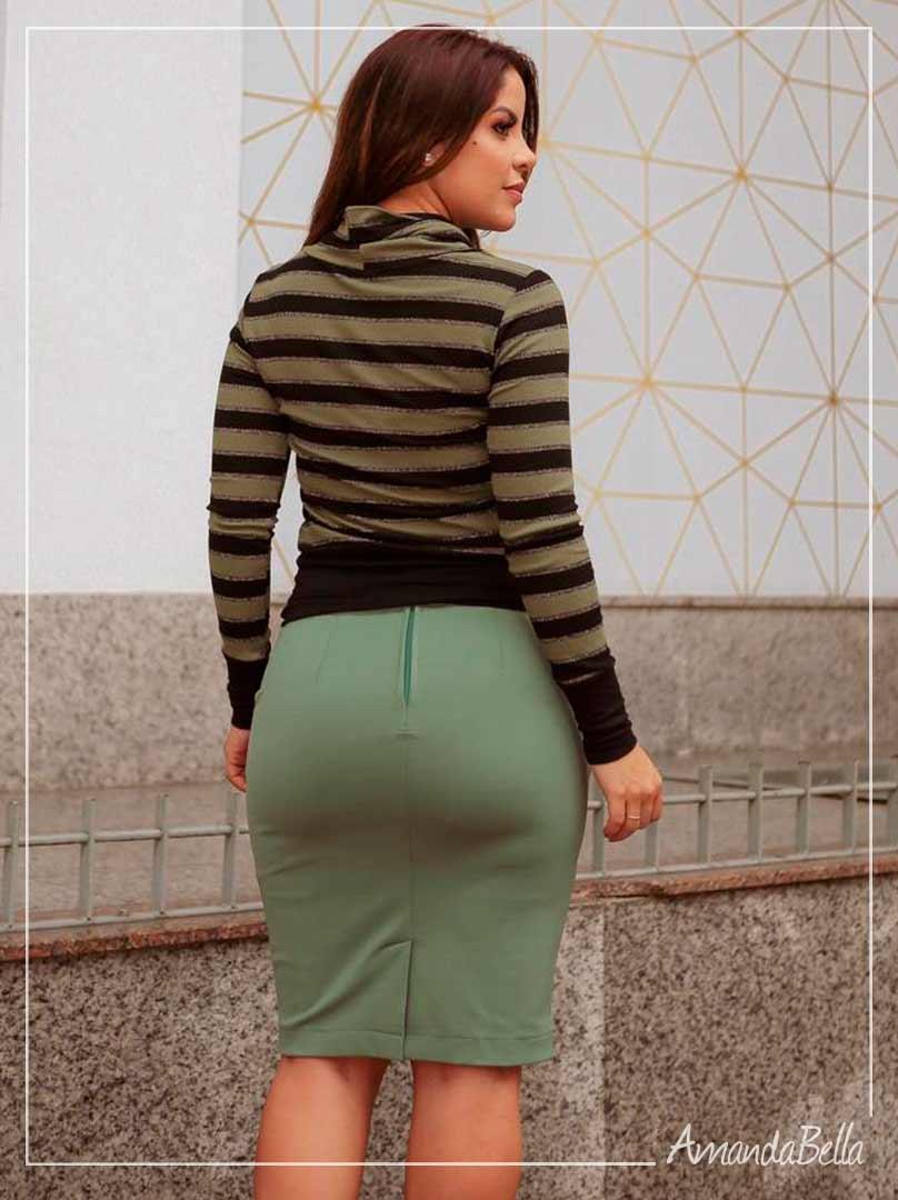 Blusa Listrada Tricot Verde Listrada