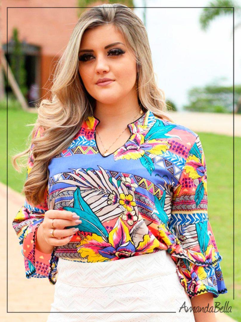 c9cedf5d2 Blusa Social Feminina Viscose Estampada com Babado