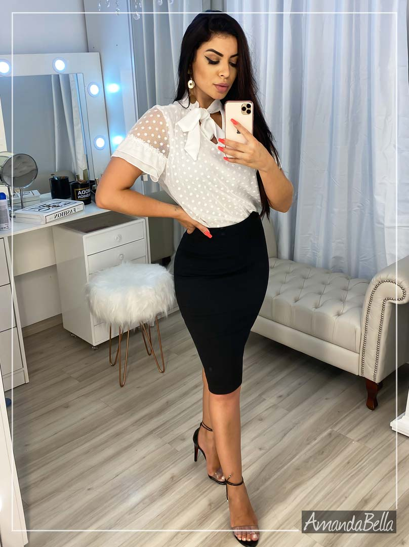 Blusa Social Renda Branca Luxo - Amanda Bella