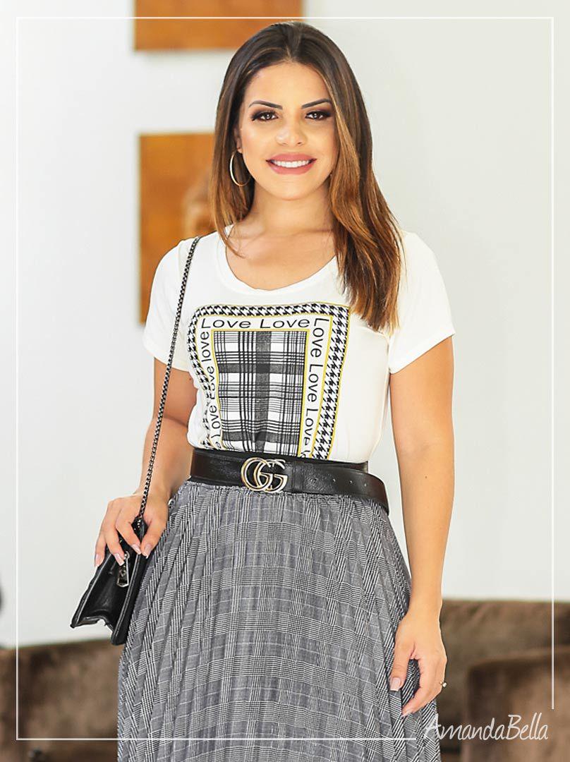 Blusa T-Shirt Estampa Xadrez - Az Irmãs