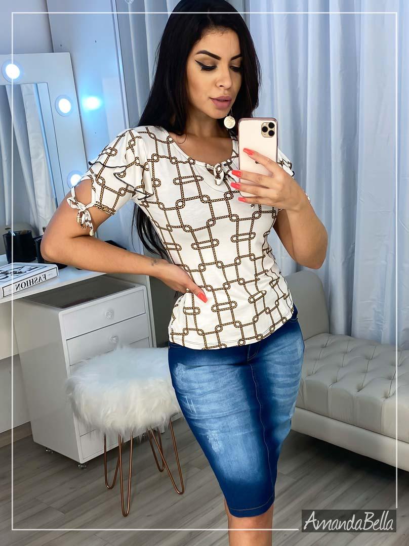Blusinha Estampada Corrente com Laço - Boutique K