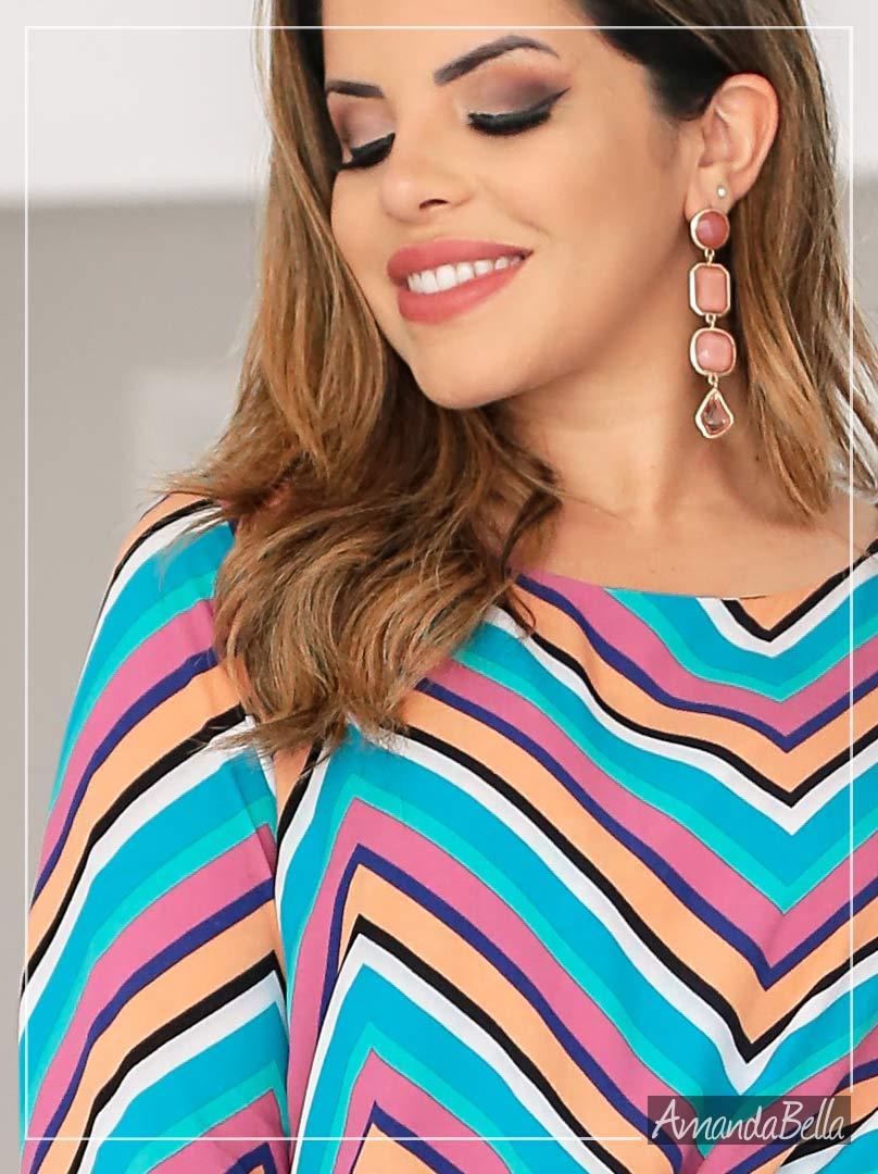 Camisa Feminina Estampa em Listras -Boutique K