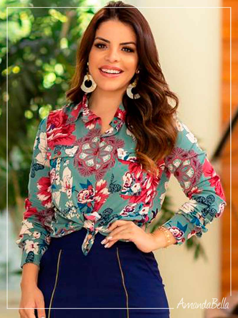 Camisa New Style Flowers Executiva - Boutique K