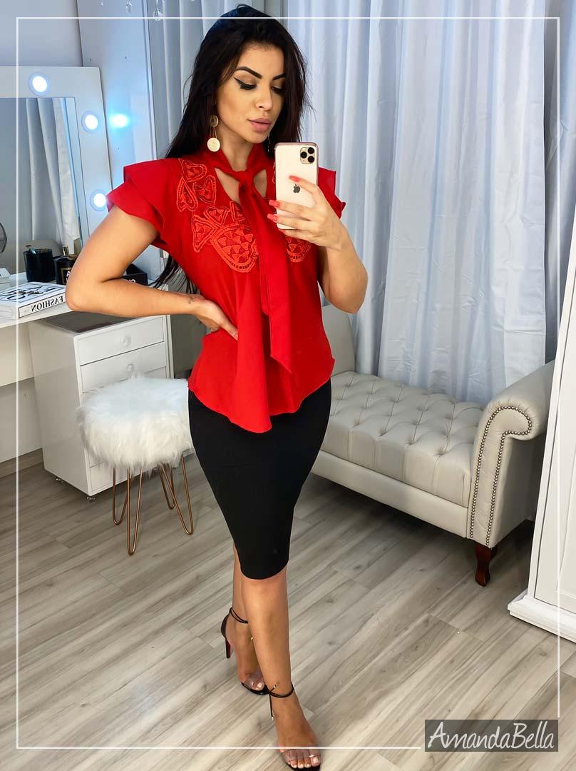 Camisa Social Vermelha Elegancê - Amanda Bella