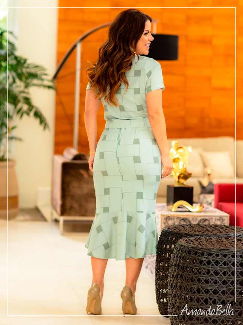 Conjunto Clássico Fino Verde Esmeralda Estampa Geométrica  - Boutique K