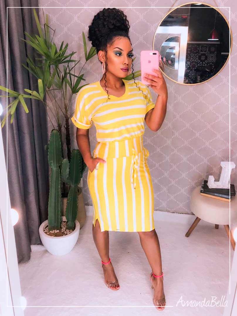 Conjunto em Listra Amarelo - Boutique K