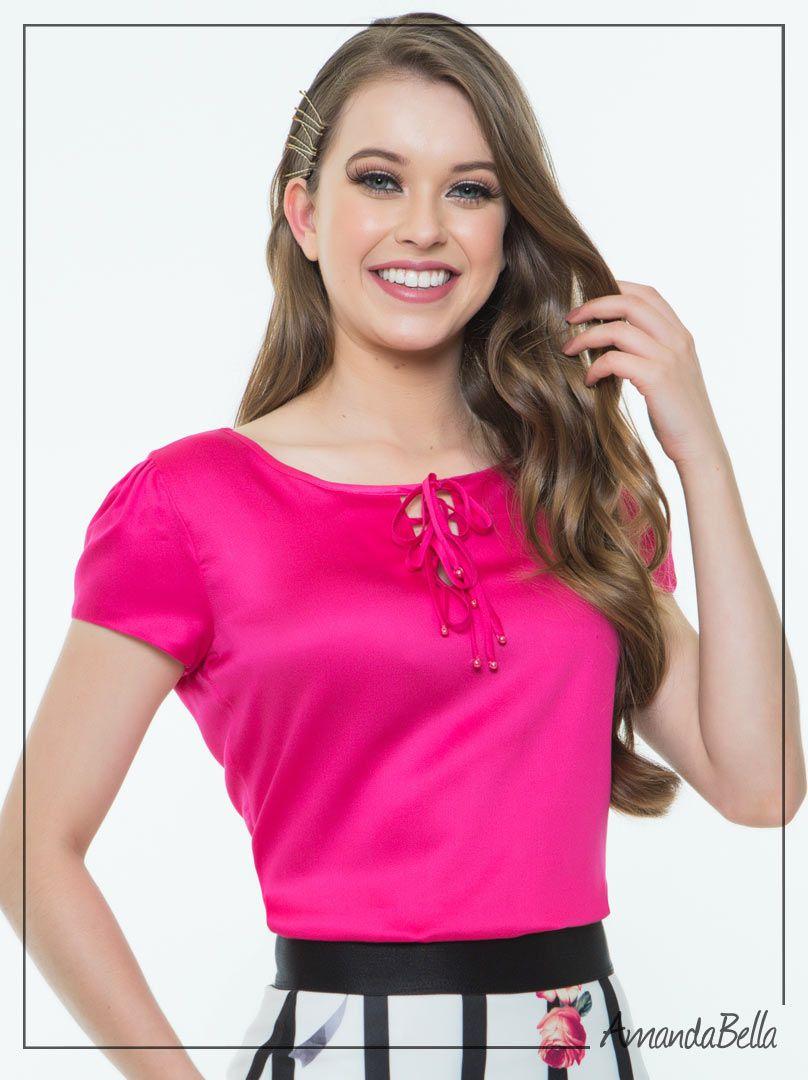 Conjunto Evasê Pink e Branco - Hapuk