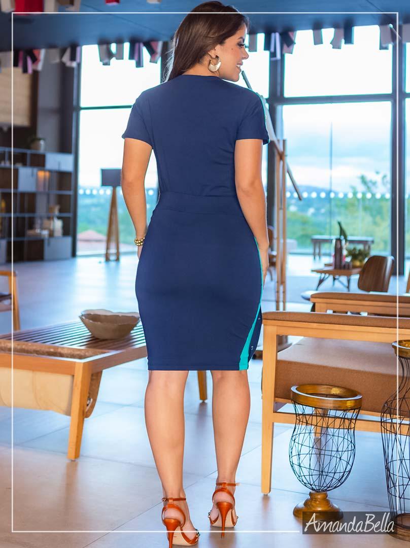 Conjunto Exclusive Azul Marinho com Recortes e Botões - Boutique K