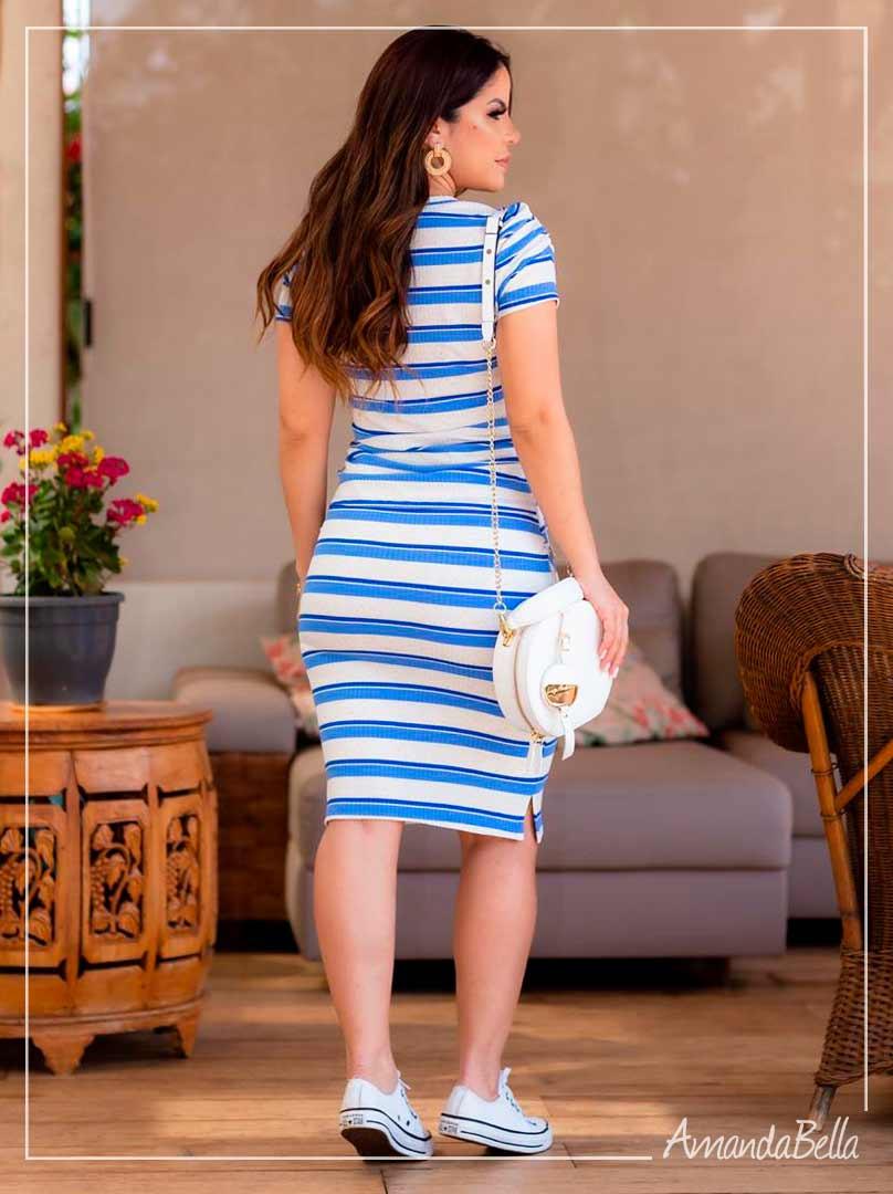Conjunto Listrado Strech Azul   -Boutique K