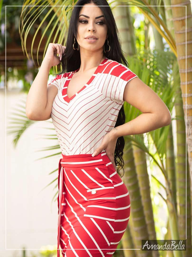 Conjunto Listrado Vermelho e Branco - Fm Fashion