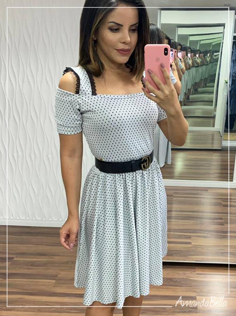 Vestido Lady Like Poá - Joyaly