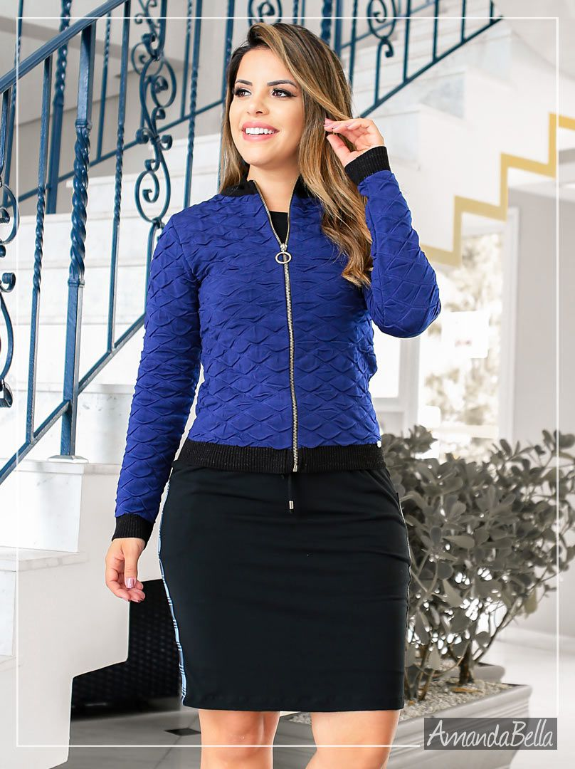 Jaqueta Bomber Feminina Sport New Collection Azul - Boutique K