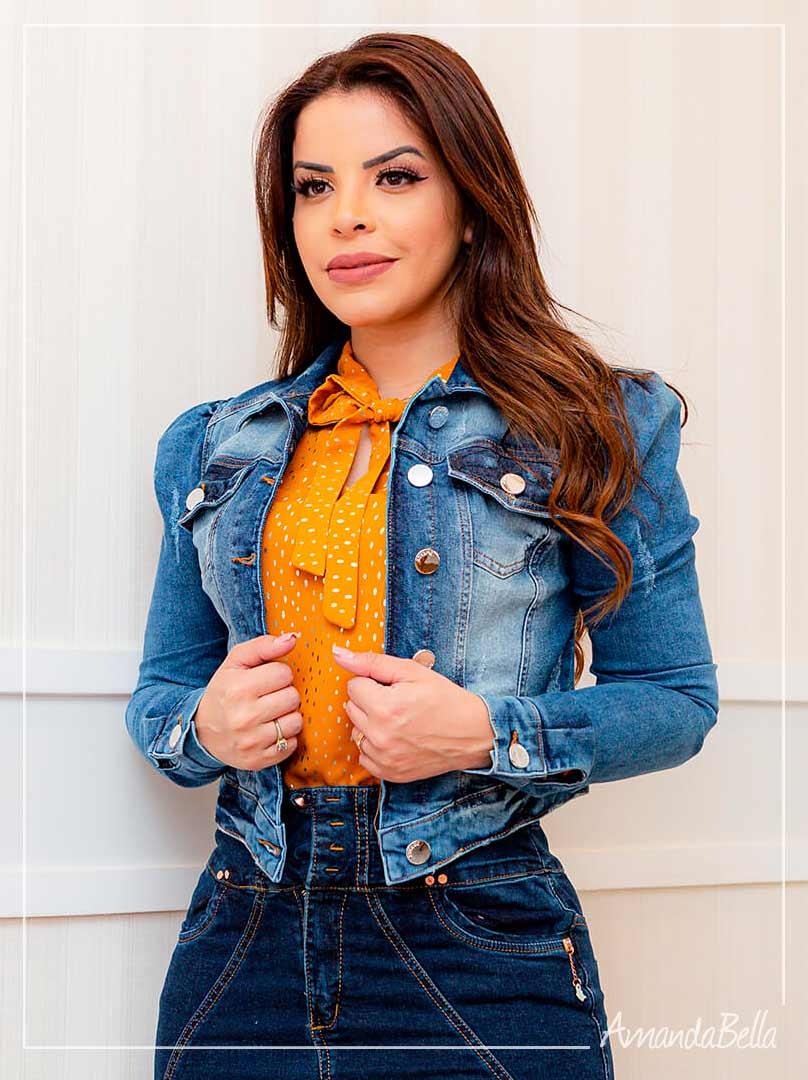 Jaqueta Jeans Fashion Dark  Joyaly