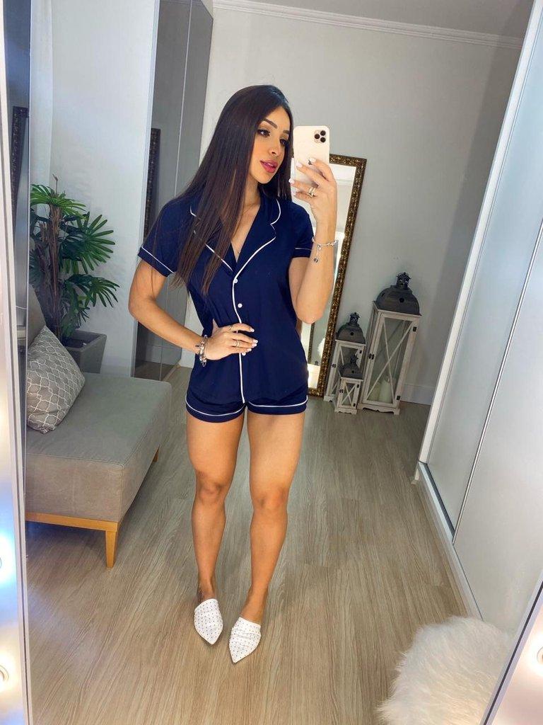 Pijama Feminino Confort  Azul - Amanda Bella