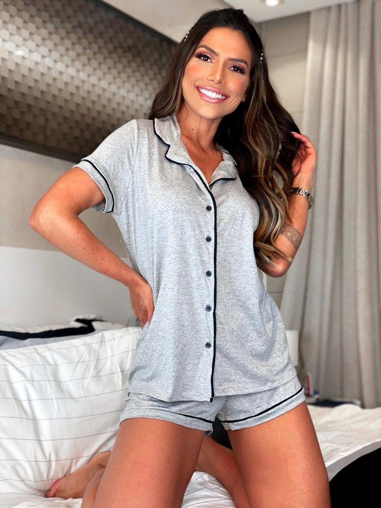 Pijama Feminino Confort Cinza - Amanda Bella