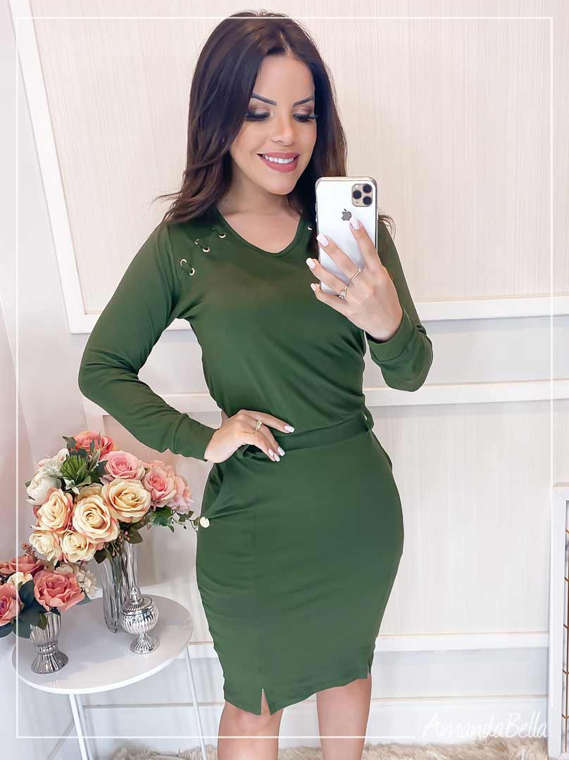 Vestido Esporte Fino Casual  Verde - Boutique K