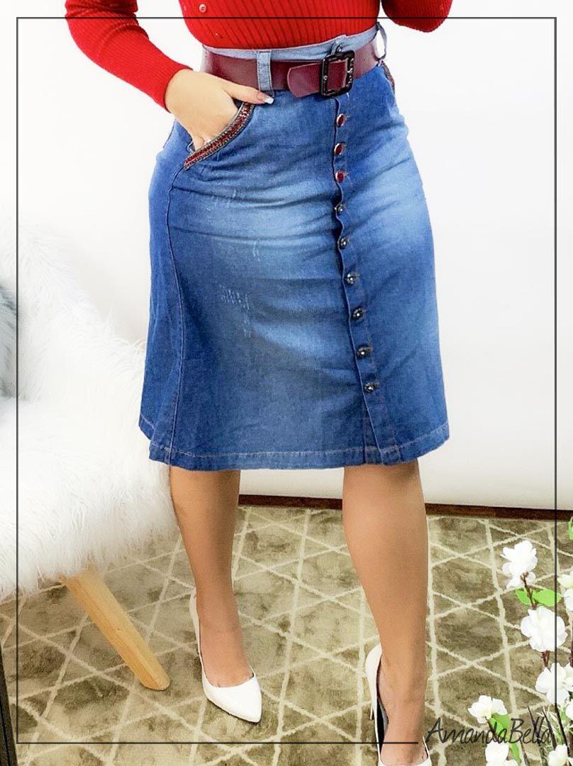 432f56c4c5 ... Saia Evasê Jeans Com Botões Frontal - Joyaly ...