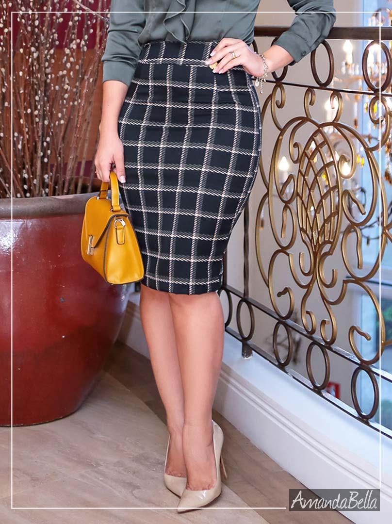 Saia Feminina Secretária com Estampa Quadriculado - Boutique K