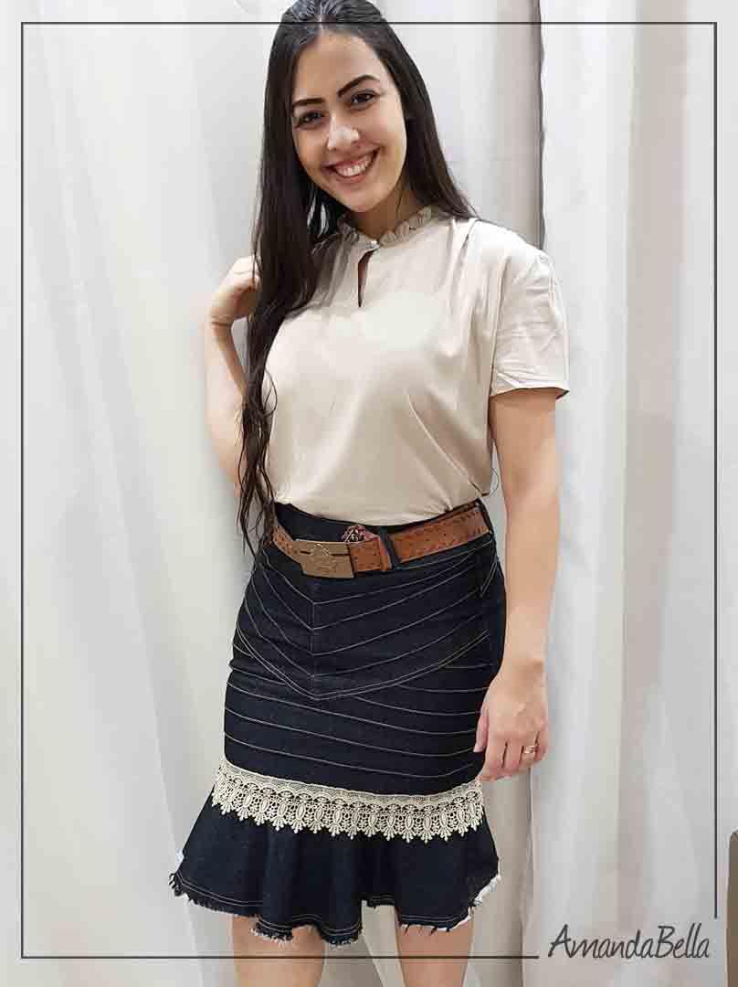 Saia Jeans com Babado e Aplique em Renda - AmandaBella