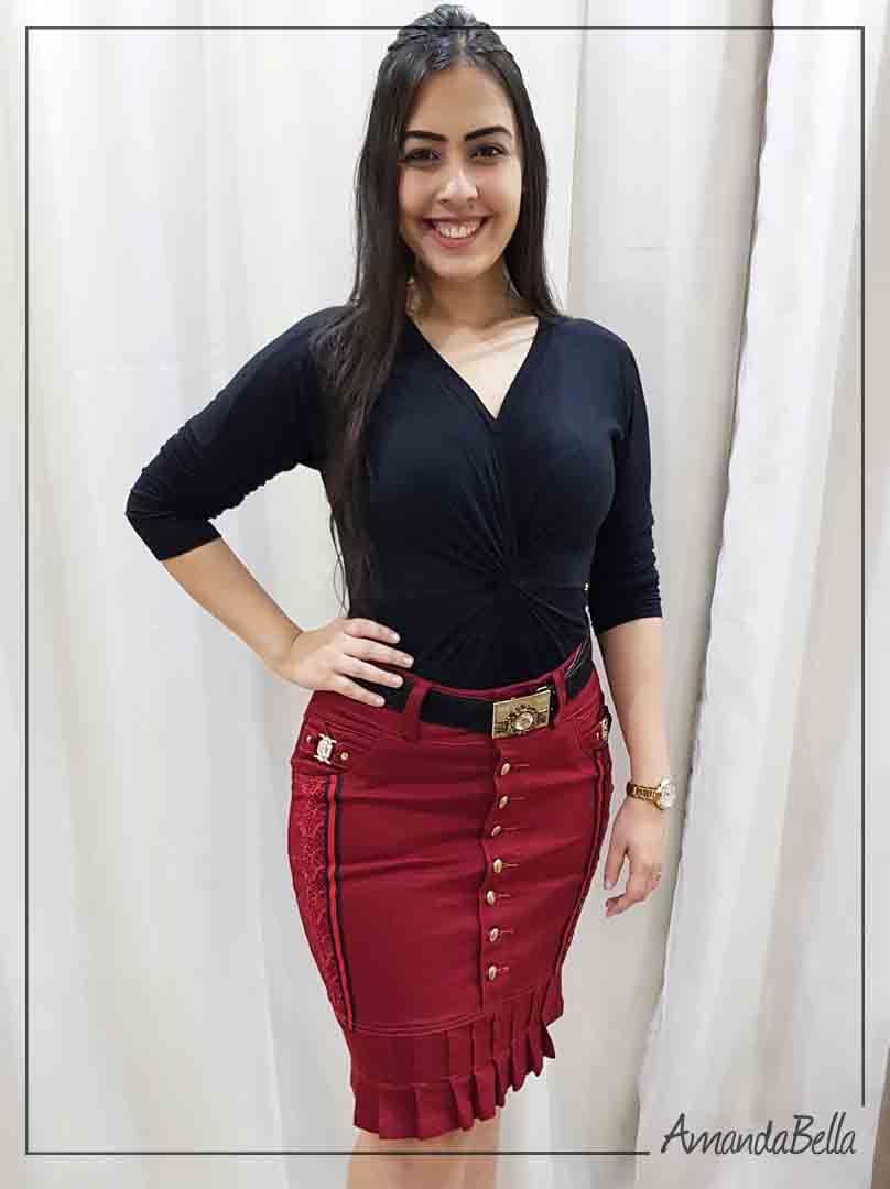 Saia Jeans com Botões Frontal e Aplique em Renda - AmandaBella