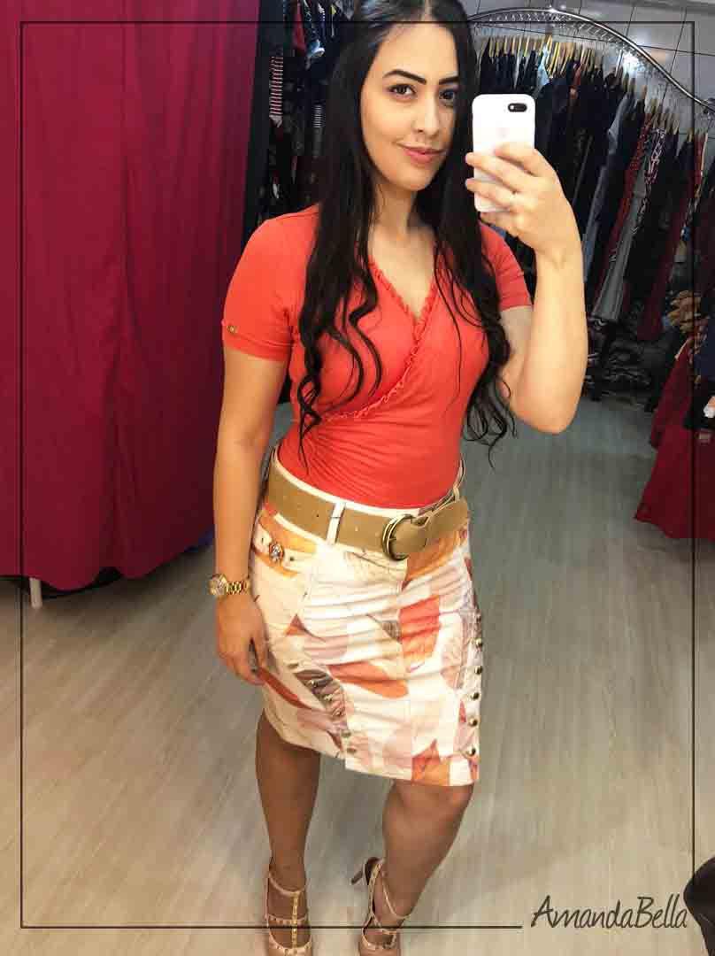 Saia Jeans Estampada com Botões Frontais- AmandaBella