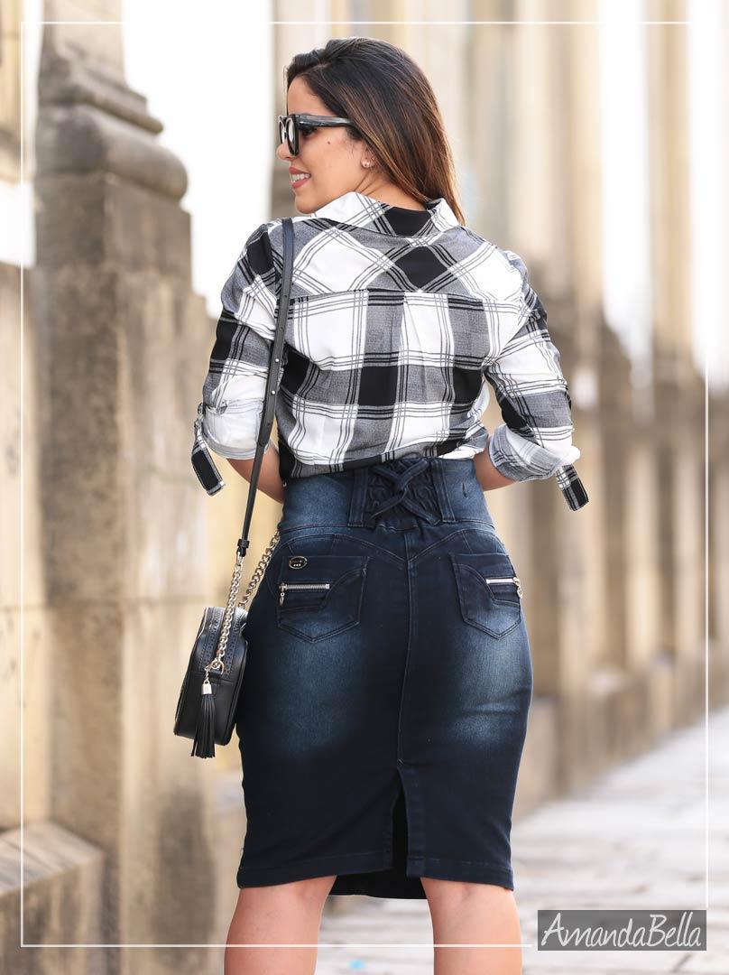 Saia Jeans Secretária Destroyed com Bordado e Botões Personalizados - Joyaly