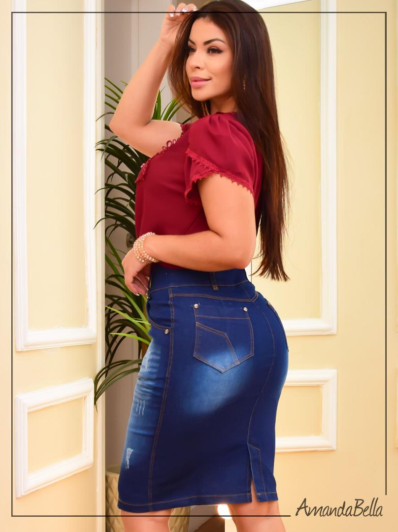 Saia Jeans Tradicional Lisa