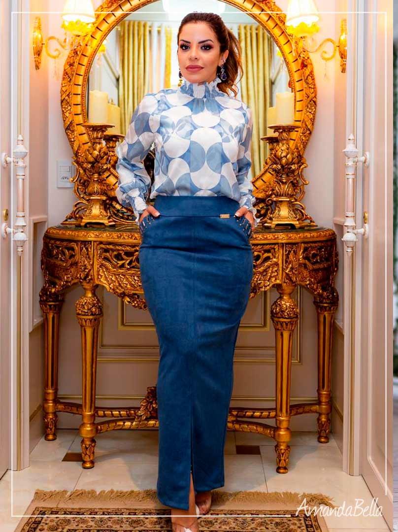 Saia Longa Azul com Detalhes e Bolso - Boutique K