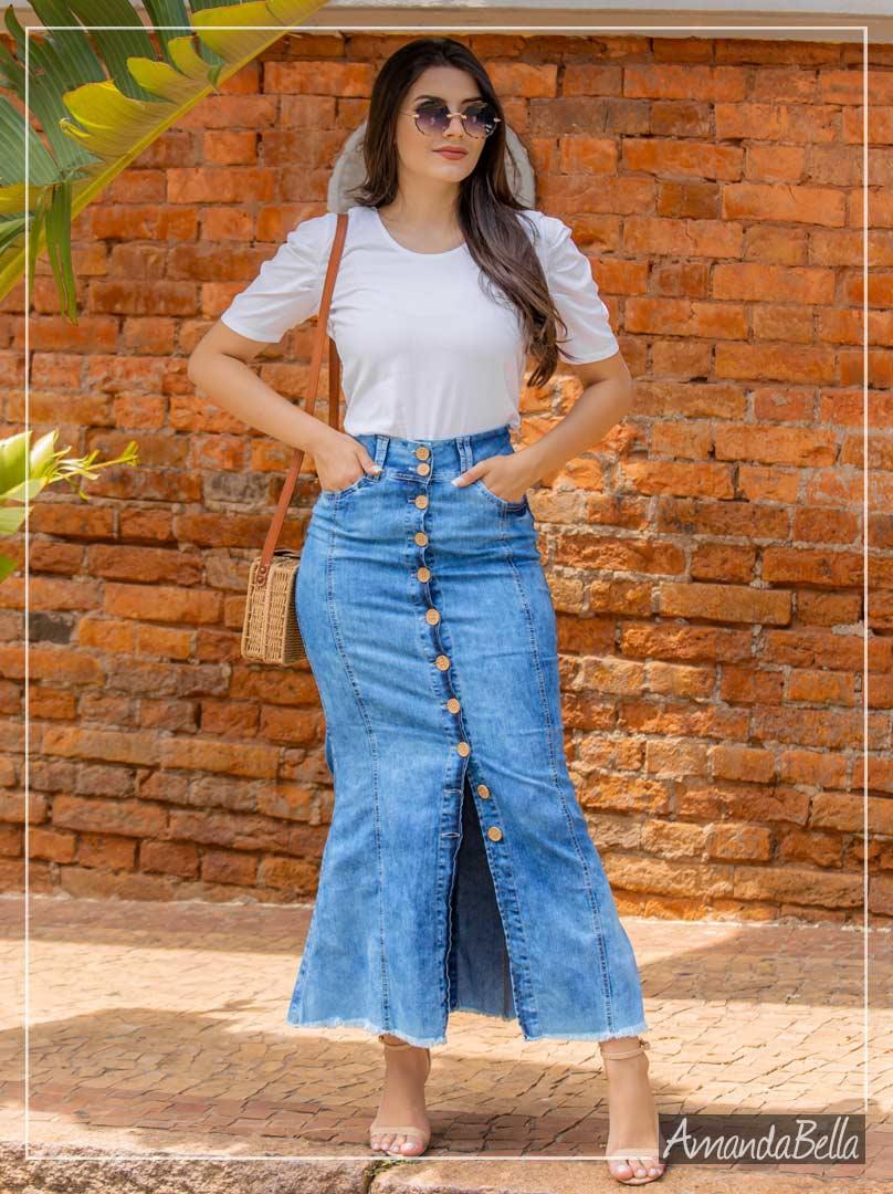Saia Longa Jeans com Botões Frontais - Saiaria