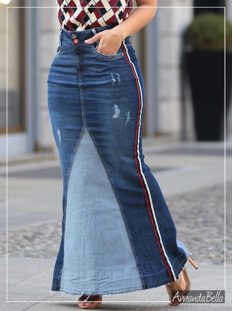4493b078a2 Saia Longa Jeans Inspiração Gucci - Joyaly