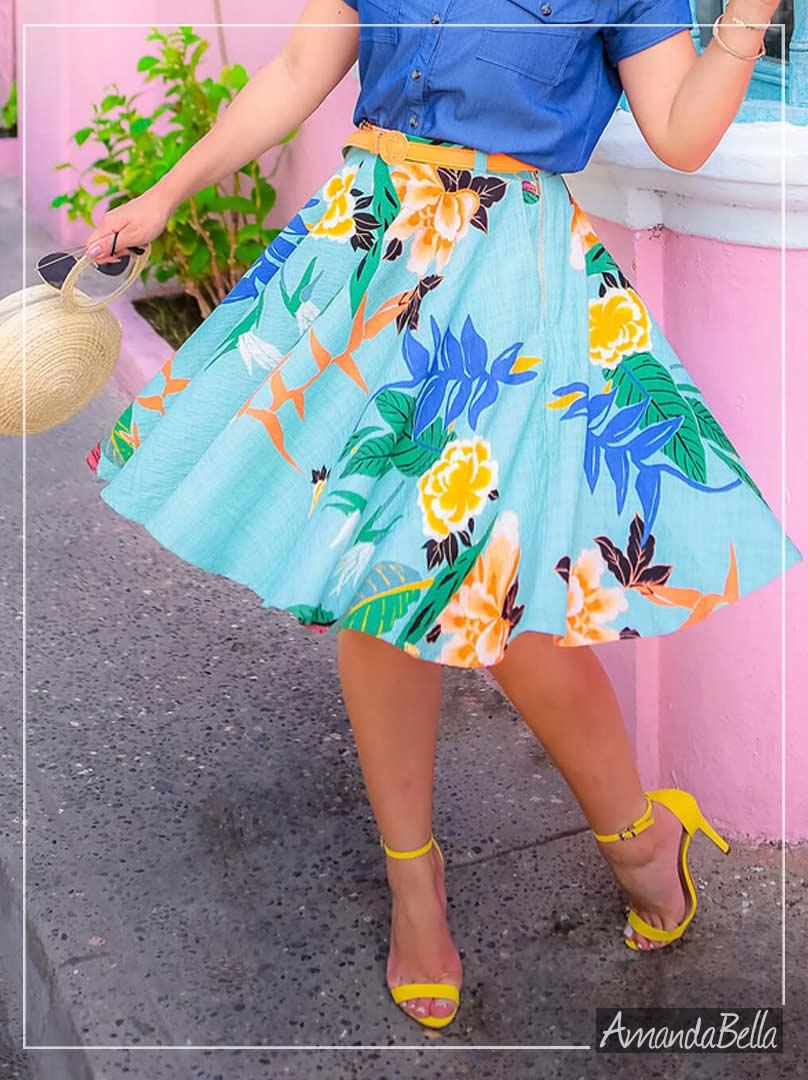 Saia Midi Floral Aero - Joyaly Fashion