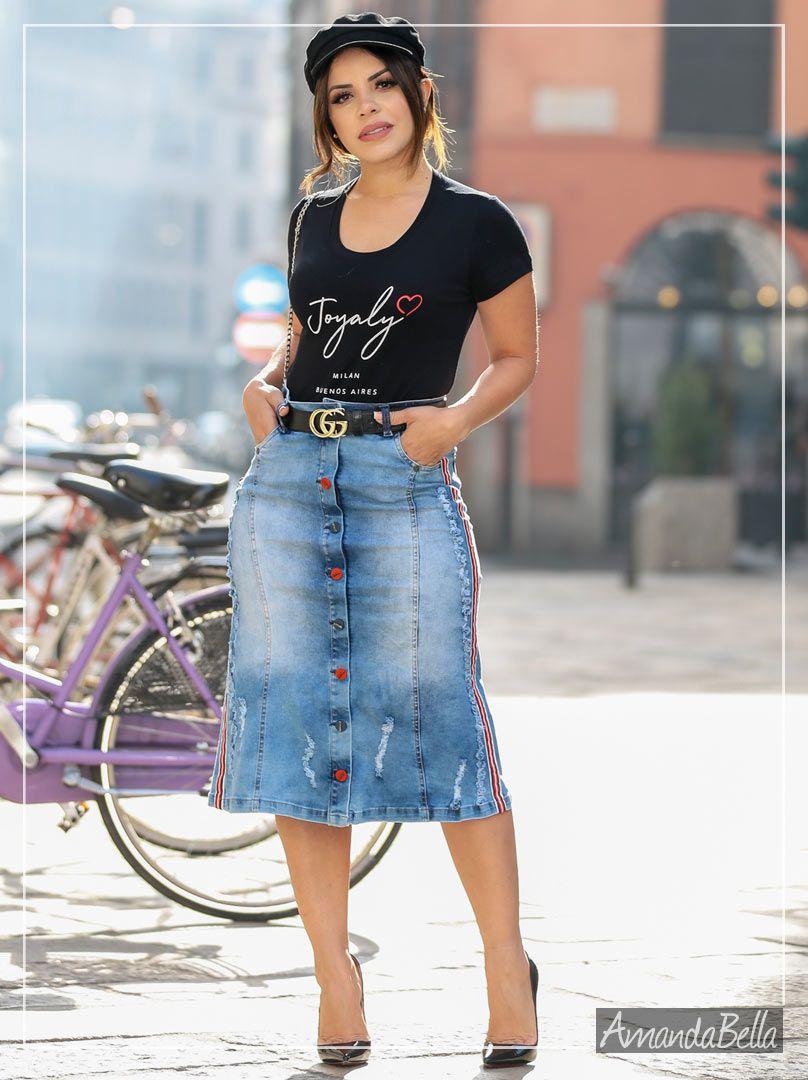 09be09de2b ... Saia Midi Jeans com Botões Personalizados Milão - Joyaly ...