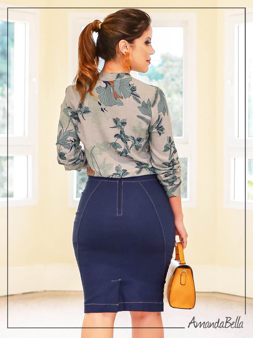 Saia Secretária Bengaline de Jeans - Boutique K