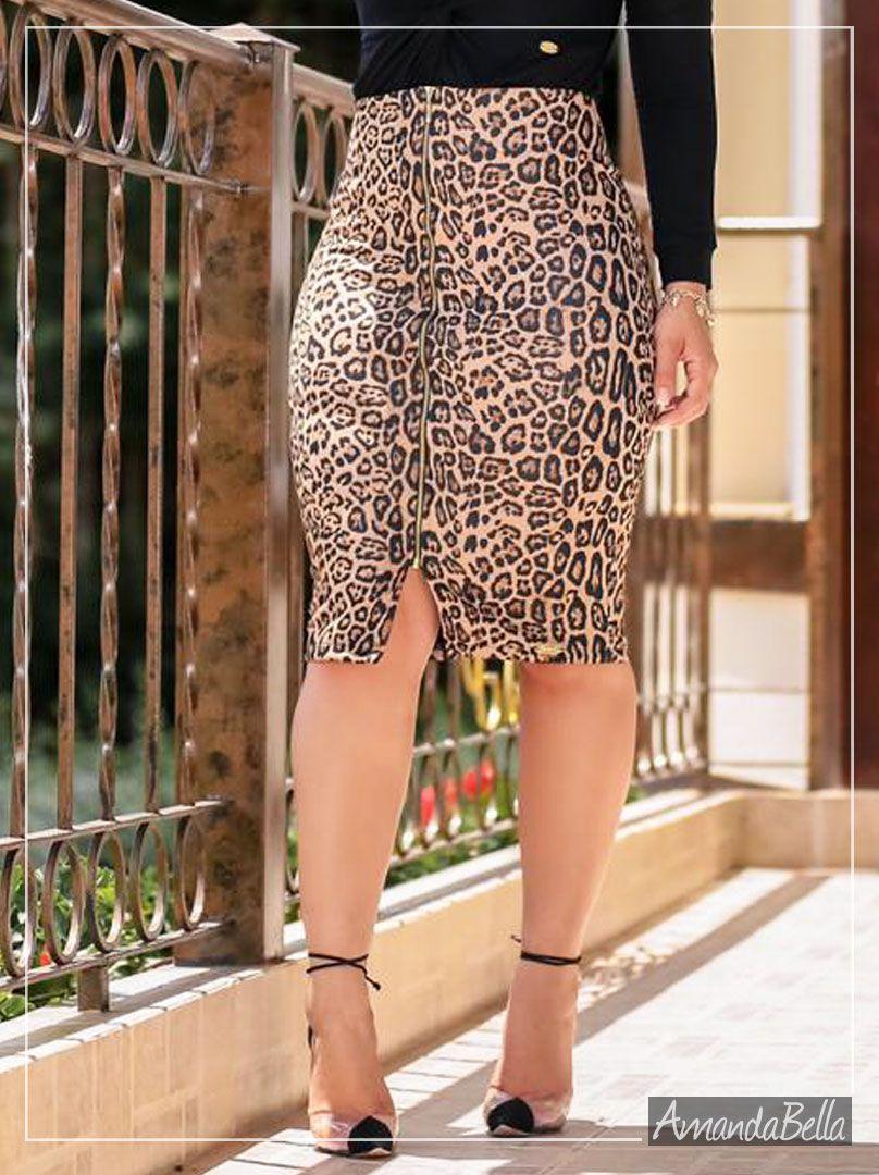 Saia Secretária Estampada Animal Print com Zíper na Frente - Boutique K