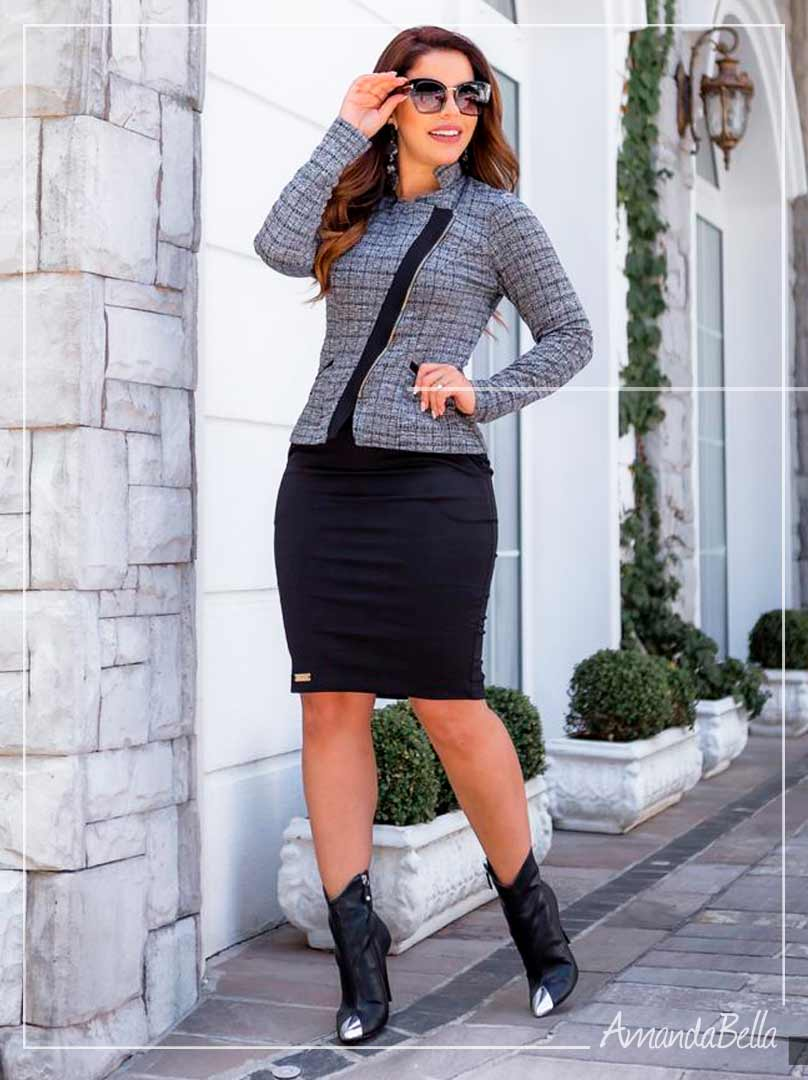 Saia Secretária Preta - Boutique K