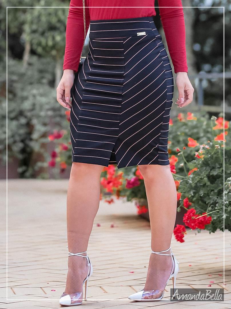 Saia Secretária Preta com Risca de Giz Tricolor - Boutique K