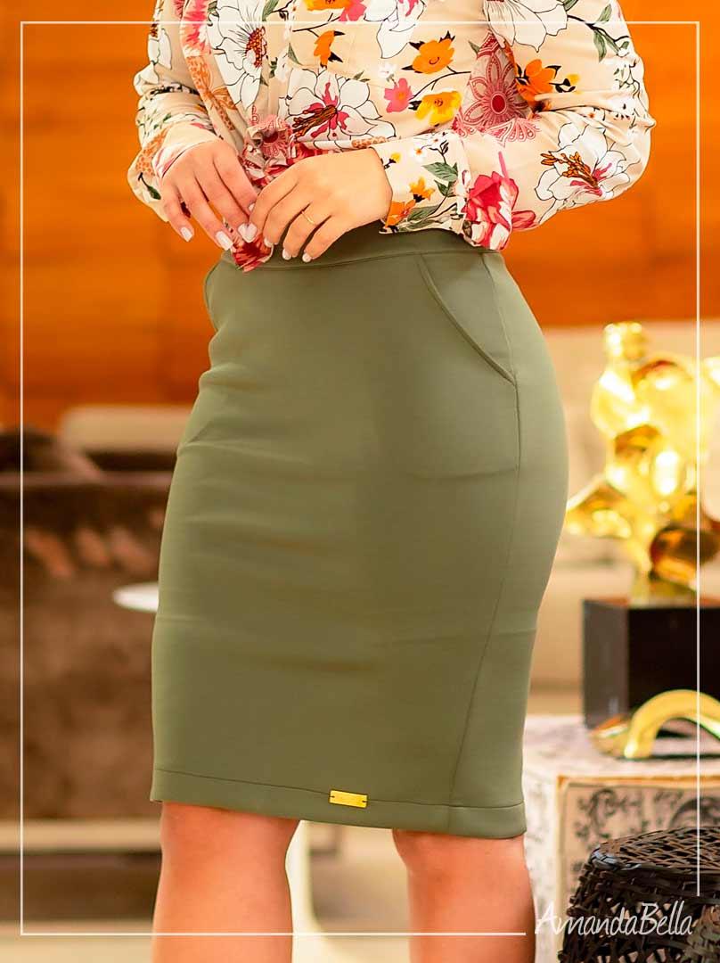 Saia Secretária Verde com Detalhe  - Boutique k
