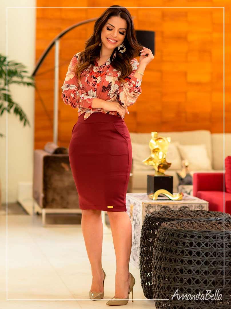 Saia Secretária Vinho com Detalhe  - Boutique k