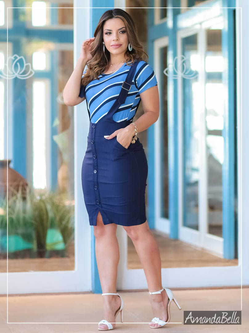 Salopete Feminina Executive com Botões Frontal - Boutique K