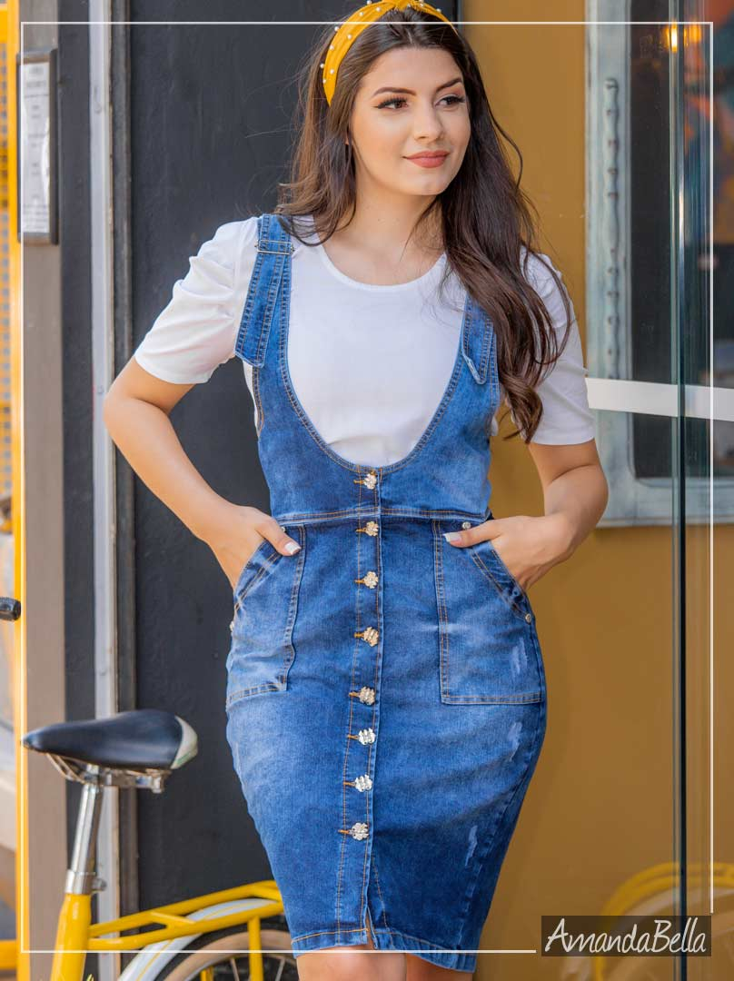 Salopete Jeans Denim Verão 2020 - Saiaria